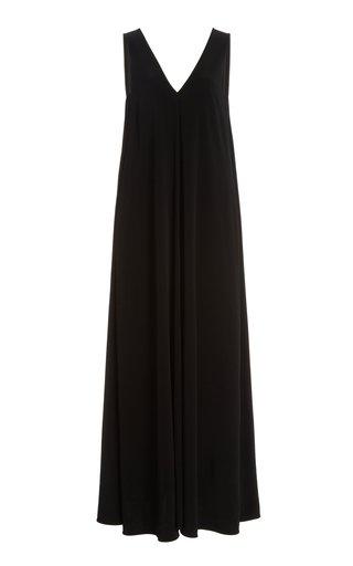 V-Neck Stretch Crepe Maxi Dress