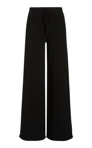 Drawstring Wool-Knit Wide-Leg Pants