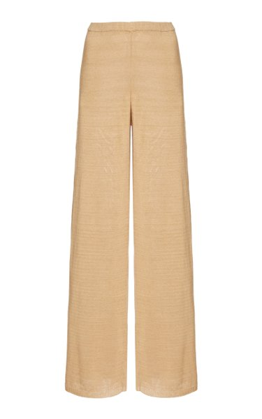 Shauna Linen-Blend Knit Wide-Leg Pants