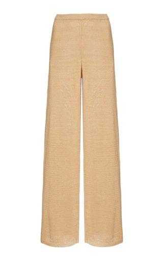 Shauna Linen-Blend Knit Wide-Leg Pants