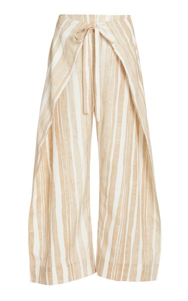 Marais Wrap-Effect Striped Cotton-Silk Wide-Leg Pants