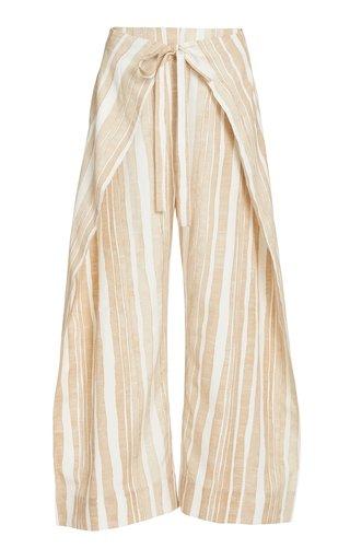Marais Wrap-Effect Striped Cotton-Silk Wide-Leg Pants