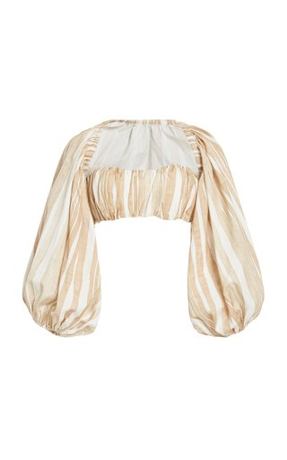 Hanna Convertible Striped Cotton-Silk Crop Top