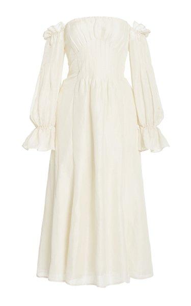 Ida Off-The-Shoulder Linen-Silk Midi Dress
