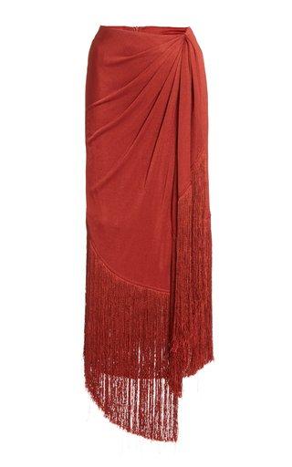 Veronika Fringed Jersey Maxi Skirt