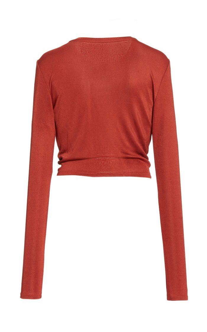 Chloe Gathered O-Ring Jersey Cropped Top