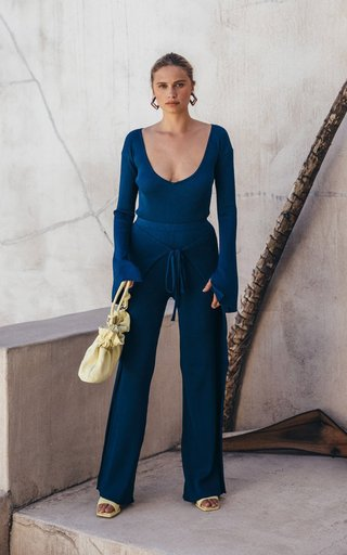 Jolene Flared-Cuff Ribbed-Knit Bodysuit
