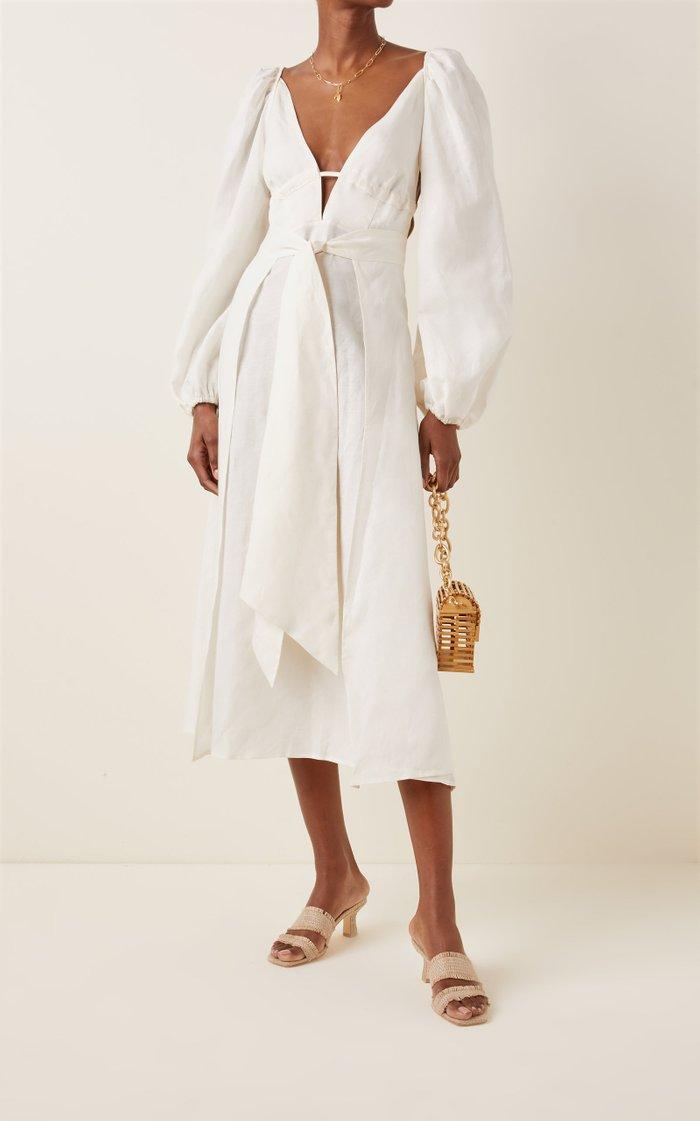 Larissa Wrap-Effect Linen-Blend Midi Dress