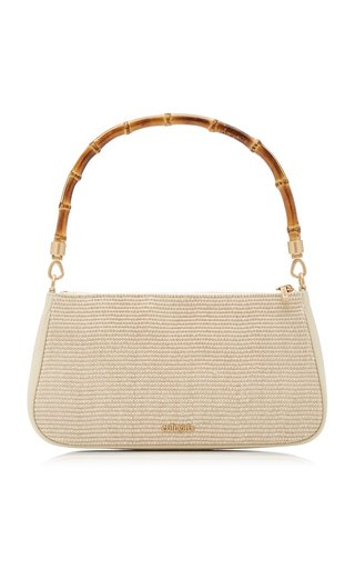 Halina Bamboo-Detailed Raffia Shoulder Bag