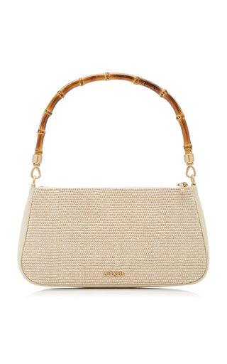 Halina Bamboo-Detailed Raffia Shoulder Bag