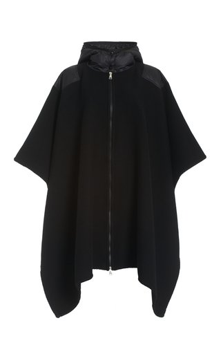 Mantella Shell-Trimmed Wool Hooded Cape Jacket