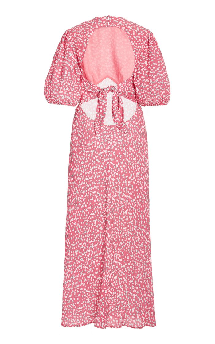 Delilah Puff-Sleeve Printed Crepe Midi Dress