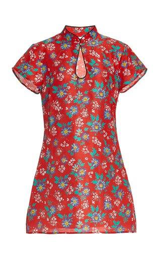 Lolita Mandarin-Collar Printed Silk Mini Dress