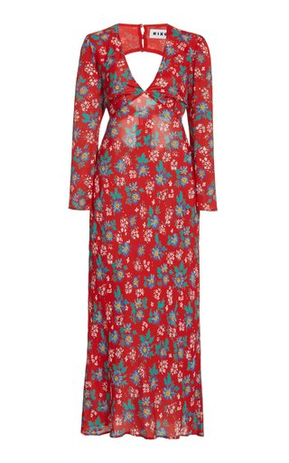 Nadine Printed Silk Open-Back Midi Dress