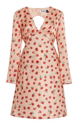 Sophie Rose-Print Silk Open-Back Mini Dress