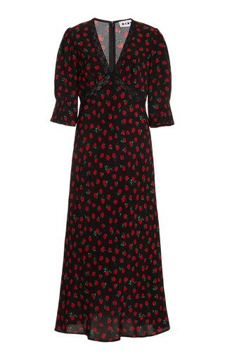 Gemma Lace-Trimmed Floral Crepe Midi Dress