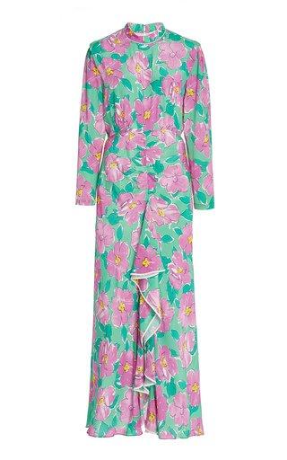 Cherie Ruffled Floral Silk Maxi Dress
