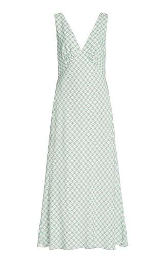 Sandrine Gingham Grepe Midi Slip Dress