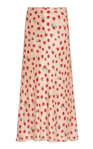 Kelly Rose-Print Silk Midi Skirt