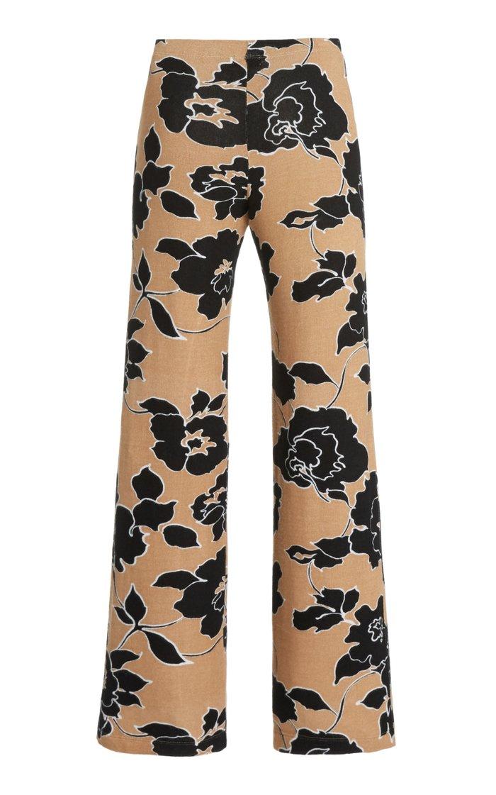 Lori Floral Knit Wide-Leg Pants