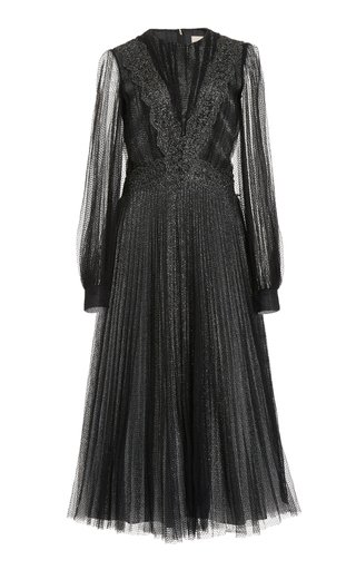 Pleated Glittered Tulle Midi Dress