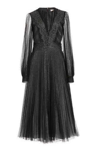 Pleated Glittered Tulle Midi Dress