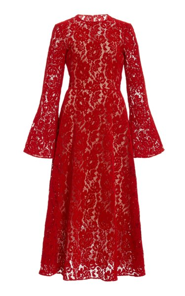 Flocked Lace Midi Dress