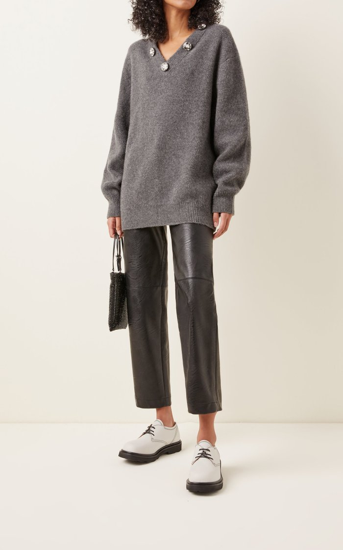 Crystal-Embroidered Wool-Knit Sweater