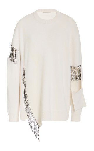 Chain-Detailed Cutout Wool Sweater