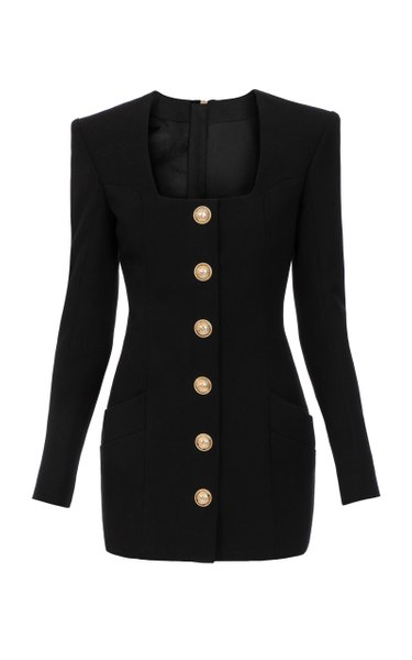 Button-Detailed Wool Mini Blazer Dress