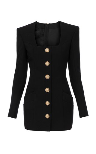Button-Detailed Wool Mini Blazer Dress