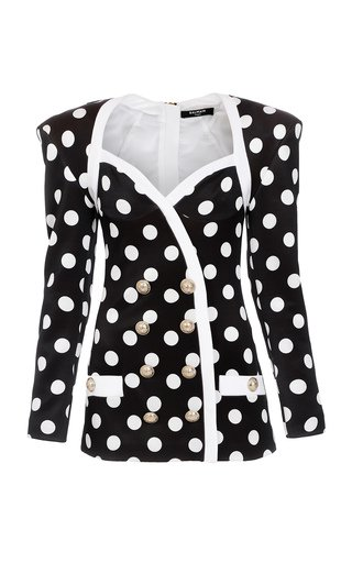 Polka-Dot Crepe Double-Breasted Mini Blazer Dress