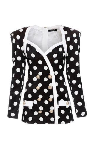 Polka-Dot Crepe Double-Breasted Mini Blazer Dress