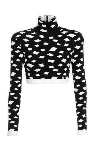 Jacquard-Knit Mock-Neck Crop Top