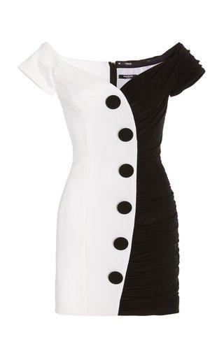 Two-Tone Ruched Crepe Mini Dress