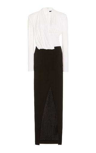 Draped Two-Tone Jersey Gown