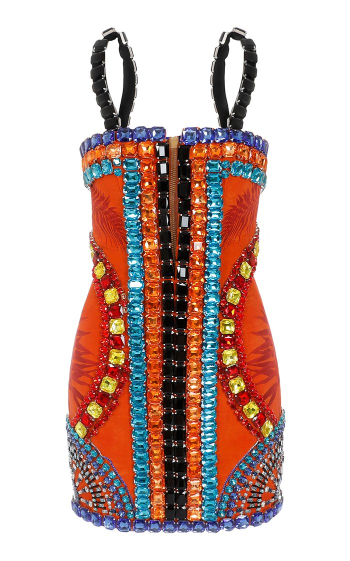 Crystal-Embellished Printed Silk Mini Dress