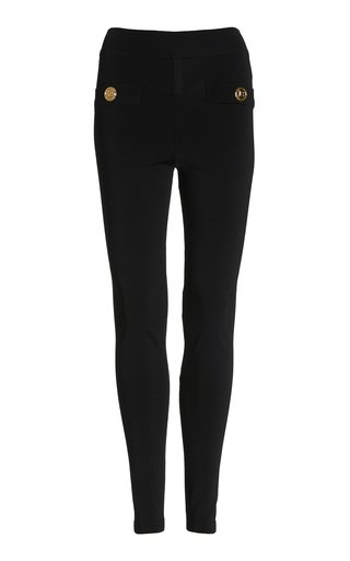 Button-Detailed Zipped Knit Leggings