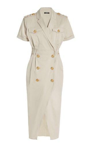 Button-Detailed Cotton Denim Midi Dress