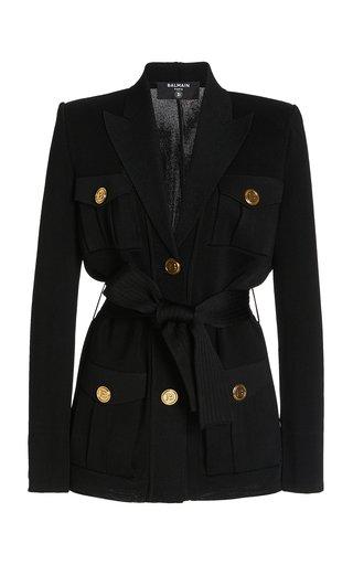 Belted Compact-Knit Blazer Jacket