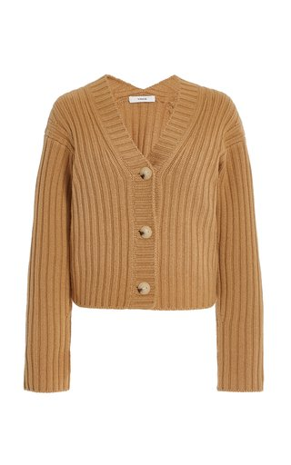 Ribbed-Knit Wool-Cashmere Cardigan
