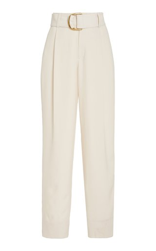 Belted Pleated Crepe Wide-Leg Trousers