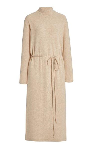 Belted Cotton-Blend Midi Sweater Dress