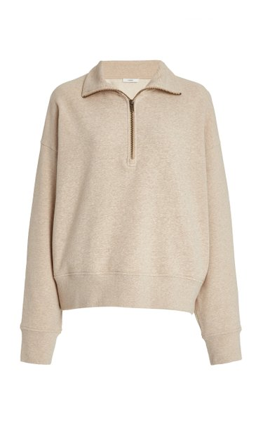 Half-Zip Cotton-Knit Sweatshirt