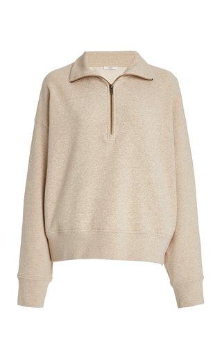 Half-Zip Cotton-Knit Sweatshirt