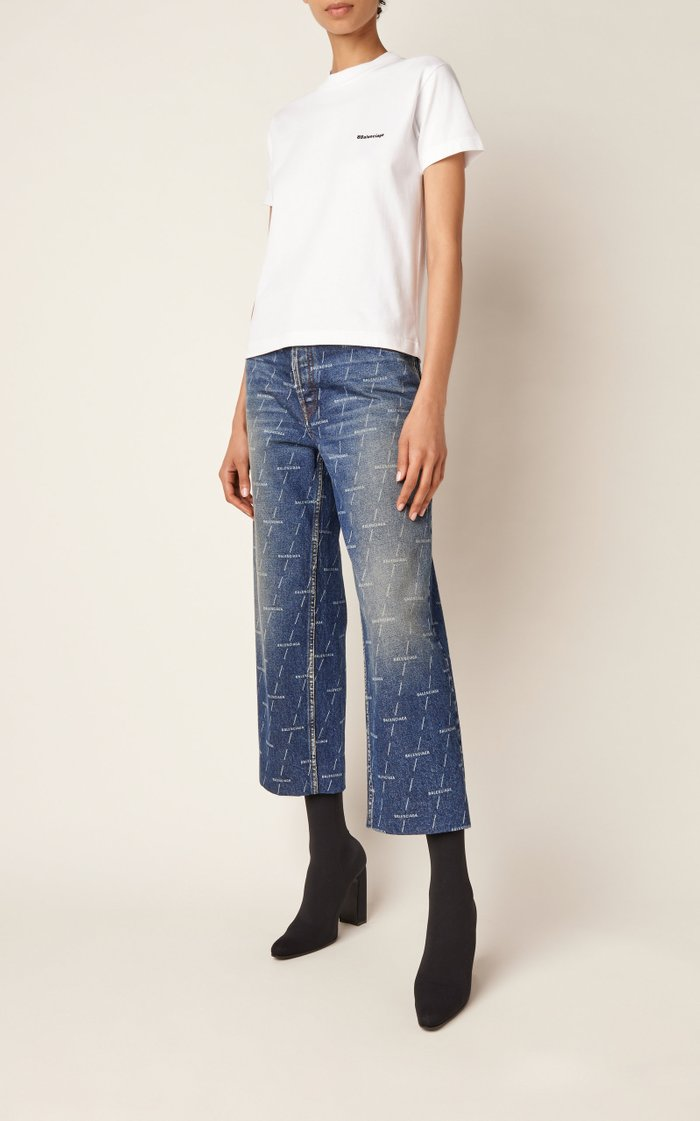 Logo Distressed High-Rise Cropped Denim