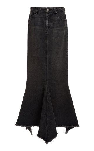 Distressed Denim Maxi Skirt