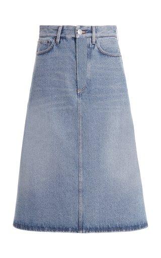 Distressed Denim Skirt