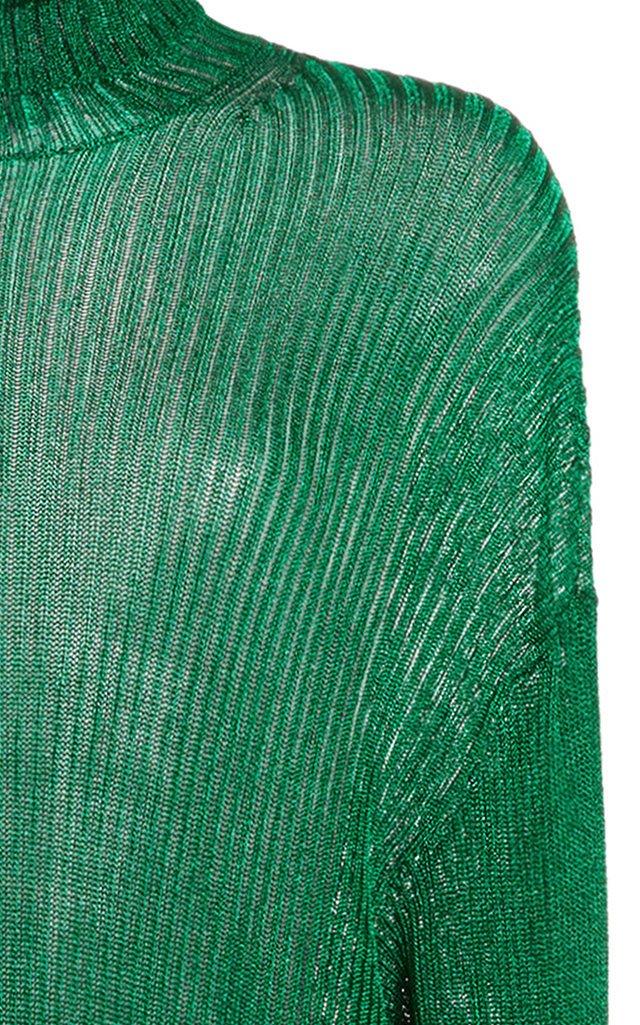 Ribbed-Knit Midi Tunic Top
