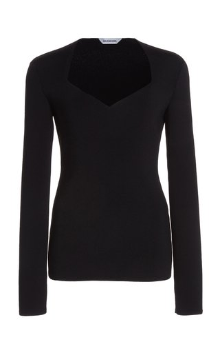 Heart-Neck Compact-Knit Top